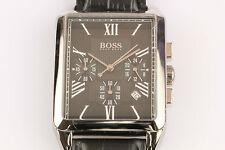 HUGO BOSS Herren Uhr 1512578 aus Edelstahl in Leder Chronograph eckig