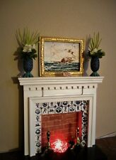 Lot of dollhouse miniatures electric Fireplace with ooak framed art and flowers