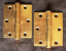 "Restored Pair Vintage 3""x3.5"" Stanley SOLID Cast Brass Butt Knuckle Door Hinges"