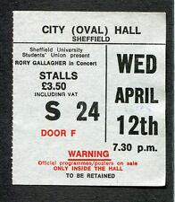 1978 Rory Gallagher Concert Ticket Stub Sheffield UK Photo Finish Rare
