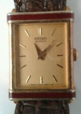 Seiko Gold Colored Square Face Ladies Watch Lizard Leather Band