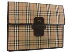 Auth Burberrys Nova Check Plaid Pattern Canvas Clutch Bag Brown 13846eSaB