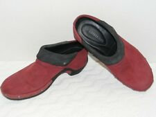 MERRELL WOMEN'S LUX WRAP MERLOT SUEDE LEATHER SLIP ON MULE CLOGS SIZE 8 GUC