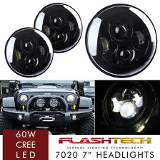 LED 7 Inch Round Projector Headlights Black Housing Low/High H6024 H6012 (Pair)