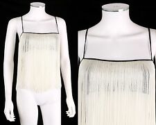 VTG MOSCHINO CHEAP & CHIC WHITE IVORY FRINGE FLAPPER CROP TOP TANK SZ 6