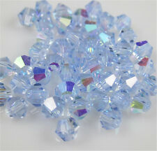 Free Shipping DIY jewelry 100Pcs Light blue 4mm # 5301 Bicone Crystal Beads New