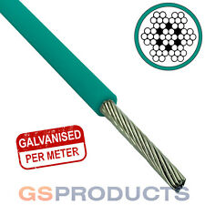 2.5-3.5mm GREEN PVC Covered Steel Wire Rope Cable 7x7 (Price per Metre)