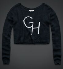 GILLY HICKS ABERCROMBIE & FITCH INTARSIA NAVY KNIT LOGO INITIAL TOP SWEATER M/L!