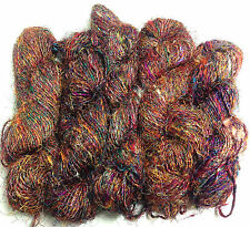 5 LARGE Skeins Himalaya Recycled Sari Silk Yarn Multi Colorful Unique