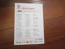 2014-15 CHAMPIONSHIP MIDDLESBROUGH v  LEEDS UNITED  v OFFICIAL    TEAM SHEET