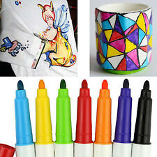 7x Permanent Fabric Marker Paint Fine Nib Pen T-Shirt Mug Cup Shoes DIY Graffiti