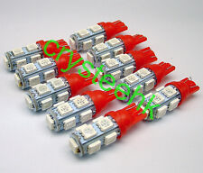 10 x T10 194,168,2825, 9 x 5050 SMD LED Red Super Bright Car Lights Lamp Bulb