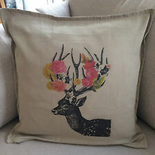 Deer Flower Antlers Large 50x50cm Home Decorative Cotton Linen Cushion Cover