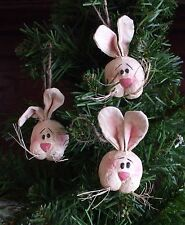 Honey and Me Easter Bunny Rabbit Head Ornaments Primitive Style Tree Unused Pkg