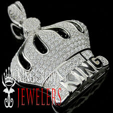 White Gold Sterling Silver Iced Out King's Crown Simulated Lab Diamond Pendant