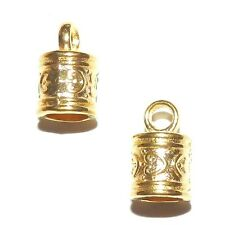 M5113p Cord End Cap with Loop 6mm Inside 16x9mm Bright Gold Metal Alloy 10/pkg