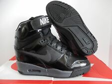 WMNS NIKE AIR REVOLUTION SKY HI HIGH BLACK PATENT LEATHER SZ 5 [599410-009]