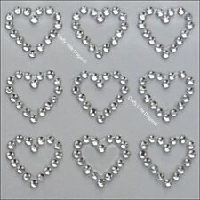 24 x 13mm Hearts CLEAR Rhinestone Diamante Stick on Self Adhesive GEMS Wedding