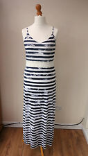 BNWT GEORGE Maxi Stretch Sundress Navy/White Striped Crochet Waist Band Size 14