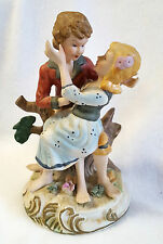 "Two Young Lovers Figurine Frisky Embrace Ceramic 7"" x 4.5"""
