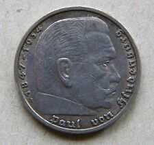 Nazi Germany 1935 RM 5 Five Reichsmark Hindenburg Silver