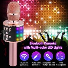 4 in 1 Handheld Wireless Bluetooth Karaoke Microphone Speaker LED Light for  KTV 3471233e838db
