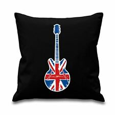 "Union Jack Guitar 18"" x 18"" Filled Sofa Cushion - Britpop Oasis Noel Gallagher"