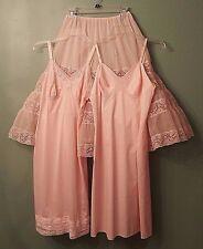 Lot Vtg 50's PINK Lingerie! Crinoline Petticoat Half Slip + 2 Full Slips-SMALL