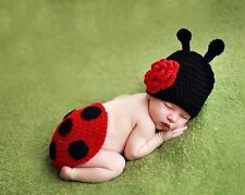 Set Baby Crochet Knit Costume Red Ladybug Photo Photography Prop Hat Clothes :)