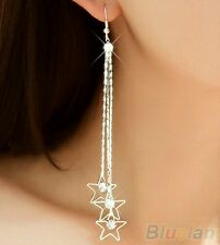 Women Rhinestone Drop 3 Layers Chain Tassels Linear Dangle Long Earrings