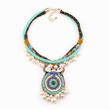 bib rope chain ethnic chunky statement pearl pendant necklace jewelry wholesale