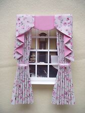 MINIATURE DOLL HOUSE CURTAINS  WITH SWAG AND TAILS CREAM PINK FLORAL 12CM X 16CM