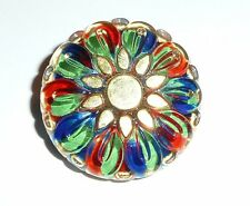 Wonderful Colorful Flower Czech Glass Button w/ Hand Painted Gold Color 28mm