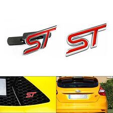Red Car Hood ST Glue Sticker + ST Front Grille Grill Badge Emblem For Ford Focus