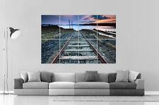 tren raíl Chimenea de hierro en completo naturaleza Wall Arte Cartel A0 Largo
