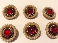 7  Pearl, Metal & Red Stone With Gilt Backing Antique Old/vintage Buttons.