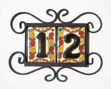 2 BLACK Mexican Tiles House Numbers High Relief & Horizontal Iron Frame