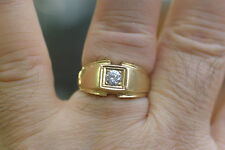 Solid 14K Yellow Gold Mens ring with C.Z.
