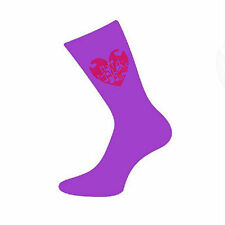 Purple Mothers Day Socks with Loving Heart Design