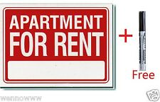 """10Pcs 9 x12 Inch Plastic """" Apartment For Rent """" Sign with a Free Erasable Marker"""