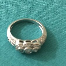 REAL NICE 18KT WHITE GOLD DIAMOND RING / SIZE 5