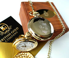 UK Police Force24k Gold Plated Pocket Watch Real Wood Gift Case BADGE CRESTED