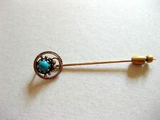 Vintage 14K gold TURQUOISE Lapel Hat STICK PIN