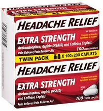 Headache Relief Extra Strength Acetaminophen Pain Reliever 2x100 Coated Caplets