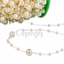 5m Ivory Fishing Line Artificial Pearl Beads Chain Garland Wedding Party Decor