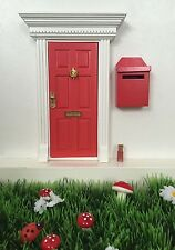 Red Wooden Elf and Fairy Door with Elf Mail Post Box Magic Key and Fairy Dust
