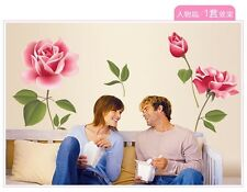 Pink Rose Beautiful Flower PVC Quote Wall Stickers Wall Decals Mural Wallpaper