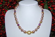 VINTAGE STRAND NECKLACE PINK FAUX CRYSTAL PEARLS LILAC GLASS BEADS & GOLD ACCENT