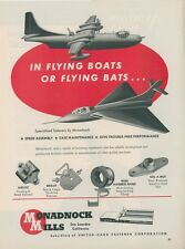 1954 Monadnock Mills Aviation Fastner Ad Great Plane Graphics Flying Boat Bat