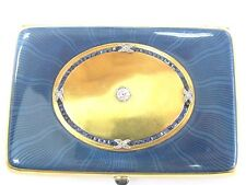 French Antique 18K Gold Guilloche Enamel, Sapphire, Diamond Cigarette Case Box